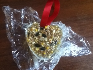Home made diy bird treat ornament